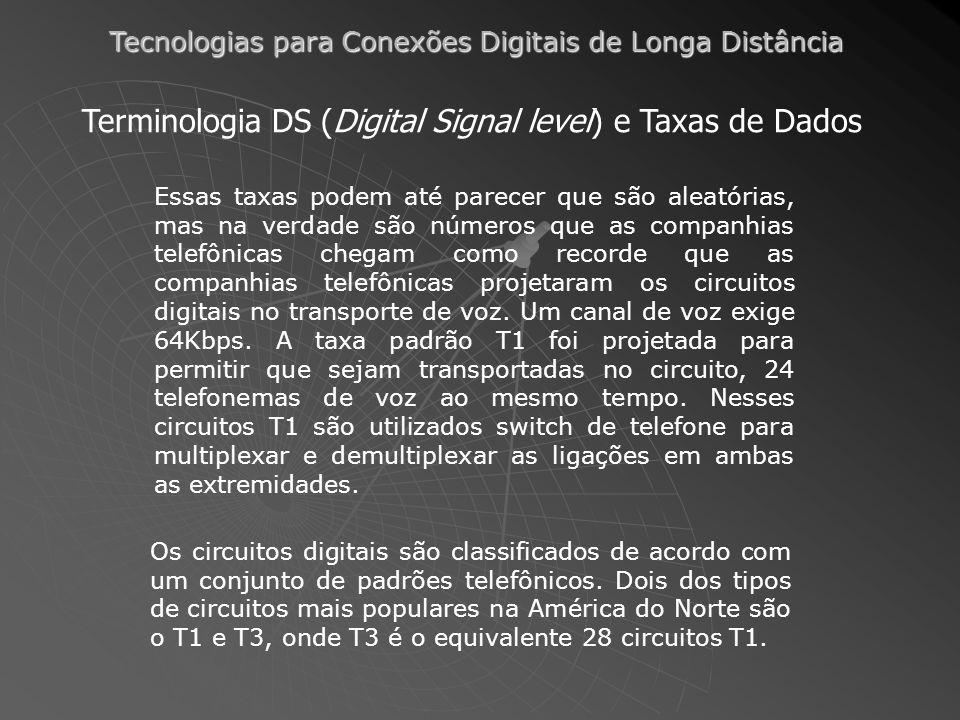 Tecnologias para Conexões Digitais de Longa Distância Terminologia DS (Digital Signal level) e Taxas de Dados Essas taxas podem até parecer que são aleatórias, mas na verdade são números que as companhias telefônicas chegam como recorde que as companhias telefônicas projetaram os circuitos digitais no transporte de voz.
