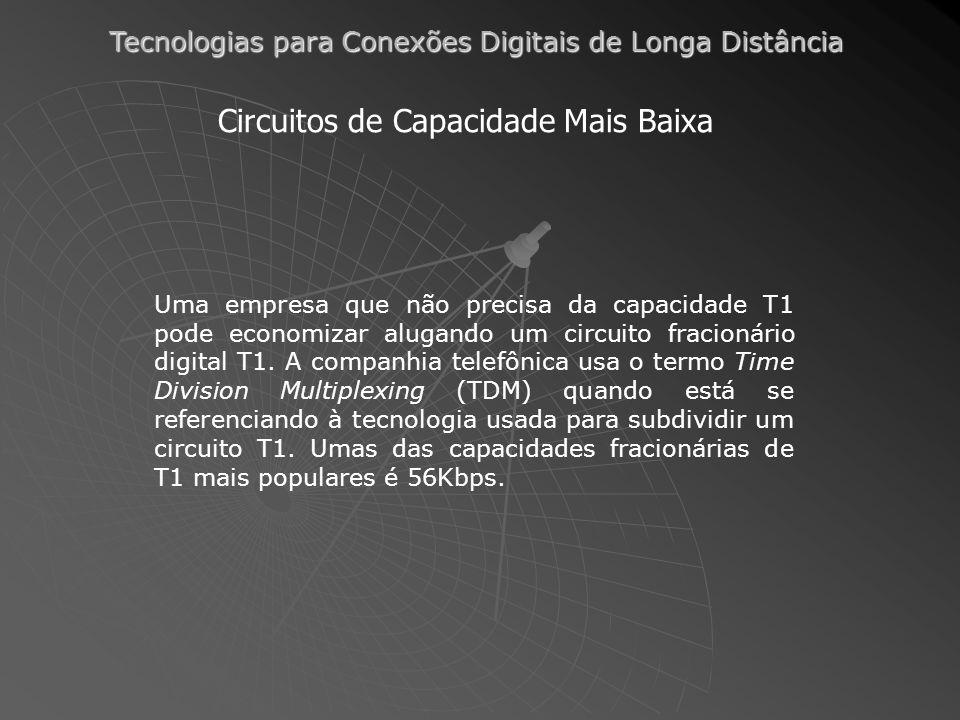 Tecnologias para Conexões Digitais de Longa Distância Circuitos de Capacidade Mais Baixa Uma empresa que não precisa da capacidade T1 pode economizar alugando um circuito fracionário digital T1.