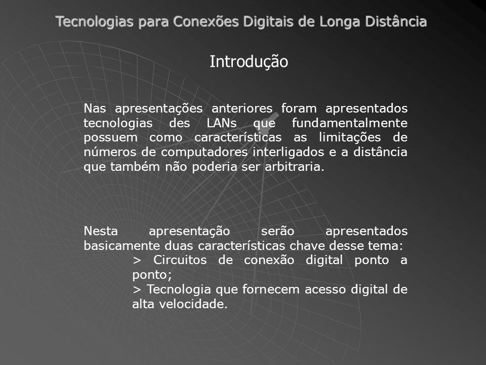 Tecnologias para Conexões Digitais de Longa Distância Introdução Nas apresentações anteriores foram apresentados tecnologias des LANs que fundamentalmente possuem como características as limitações de números de computadores interligados e a distância que também não poderia ser arbitraria.