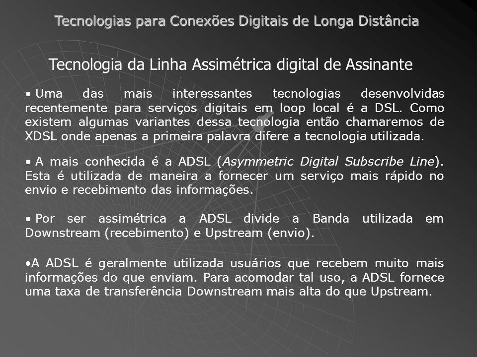 Tecnologias para Conexões Digitais de Longa Distância Uma das mais interessantes tecnologias desenvolvidas recentemente para serviços digitais em loop local é a DSL.