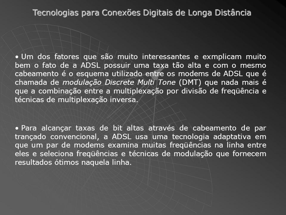 Tecnologias para Conexões Digitais de Longa Distância Um dos fatores que são muito interessantes e exmplicam muito bem o fato de a ADSL possuir uma ta