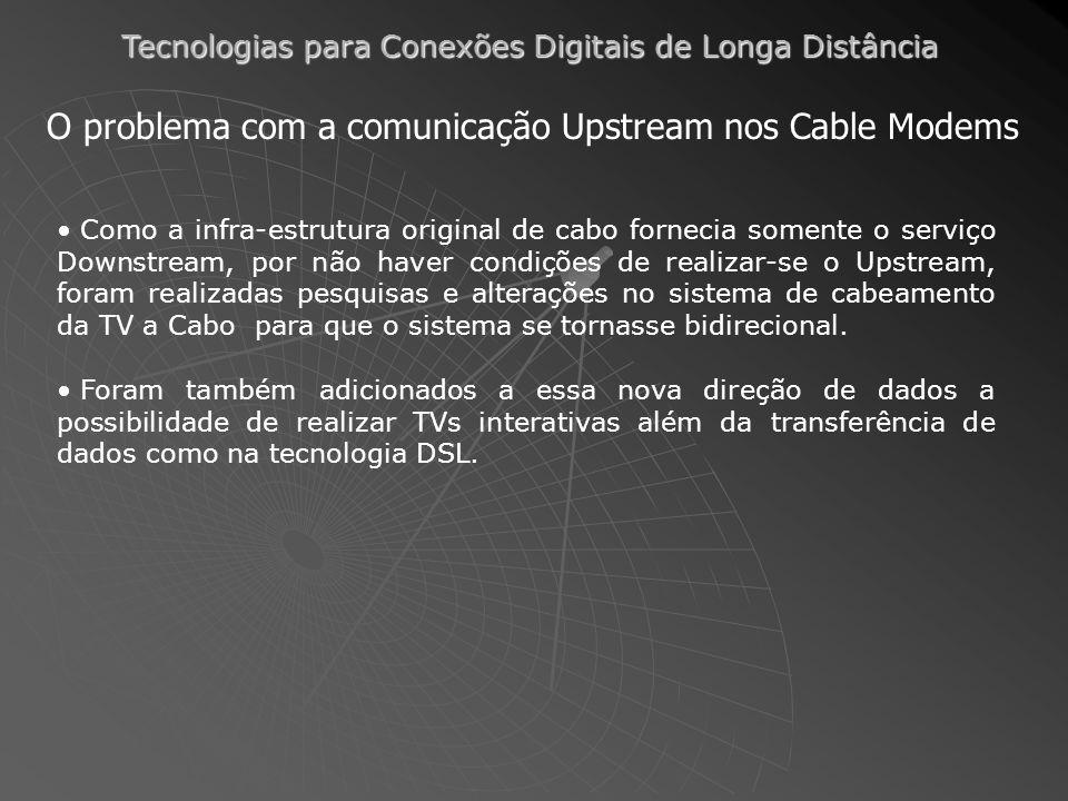 Tecnologias para Conexões Digitais de Longa Distância O problema com a comunicação Upstream nos Cable Modems Como a infra-estrutura original de cabo f