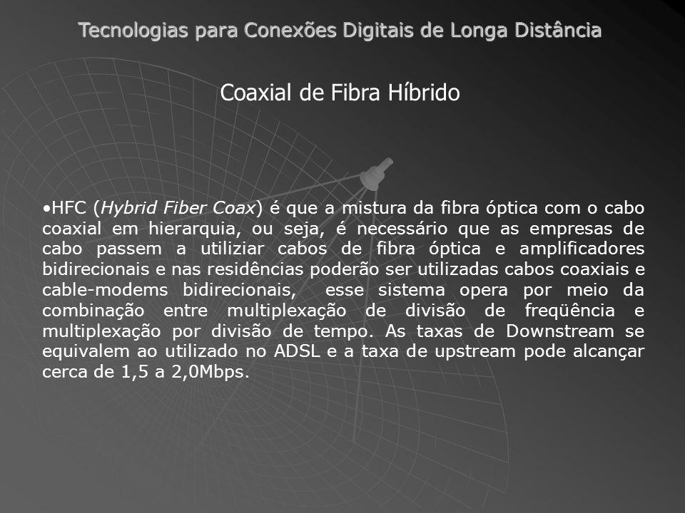 Tecnologias para Conexões Digitais de Longa Distância Coaxial de Fibra Híbrido HFC (Hybrid Fiber Coax) é que a mistura da fibra óptica com o cabo coaxial em hierarquia, ou seja, é necessário que as empresas de cabo passem a utiliziar cabos de fibra óptica e amplificadores bidirecionais e nas residências poderão ser utilizadas cabos coaxiais e cable-modems bidirecionais, esse sistema opera por meio da combinação entre multiplexação de divisão de freqüência e multiplexação por divisão de tempo.