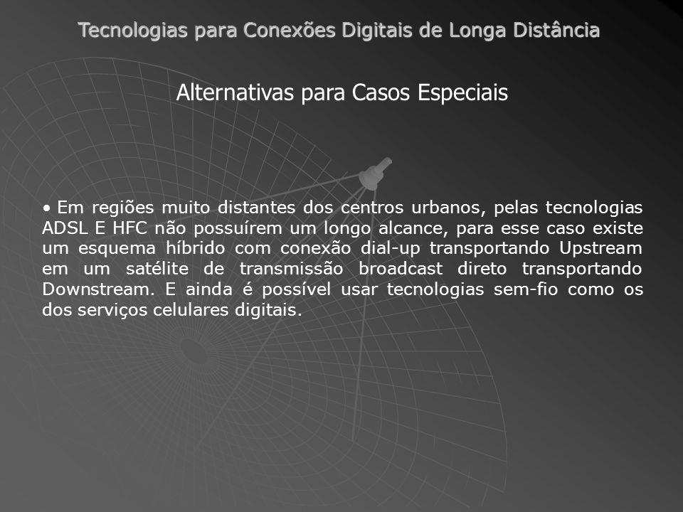 Tecnologias para Conexões Digitais de Longa Distância Alternativas para Casos Especiais Em regiões muito distantes dos centros urbanos, pelas tecnolog