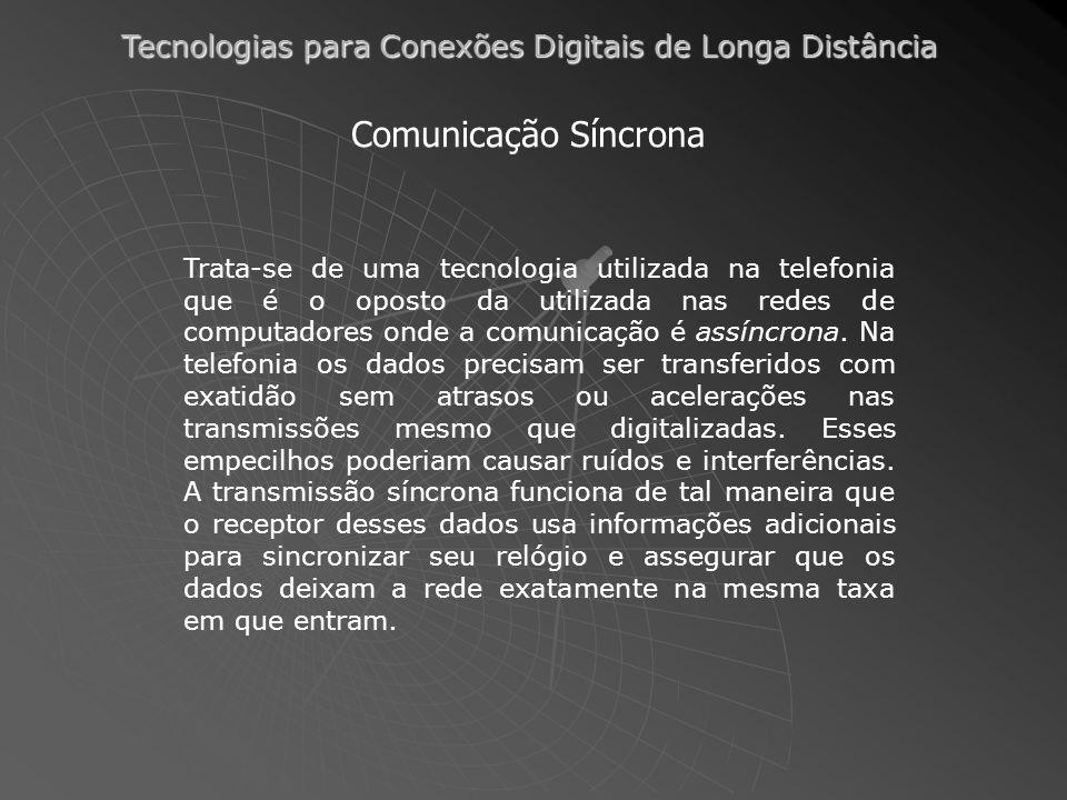 Tecnologias para Conexões Digitais de Longa Distância Comunicação Síncrona Trata-se de uma tecnologia utilizada na telefonia que é o oposto da utiliza