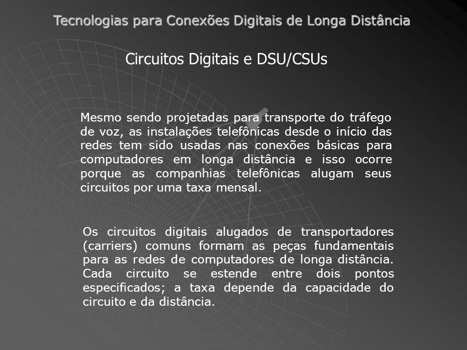 Tecnologias para Conexões Digitais de Longa Distância Outras Tecnologias de DSL SDSL: (Symmetric Digital Subscriber Line) ao contrário do ADSL ela funciona de maneira simétrica, com a taxa de transferência igual para ambas as direções.