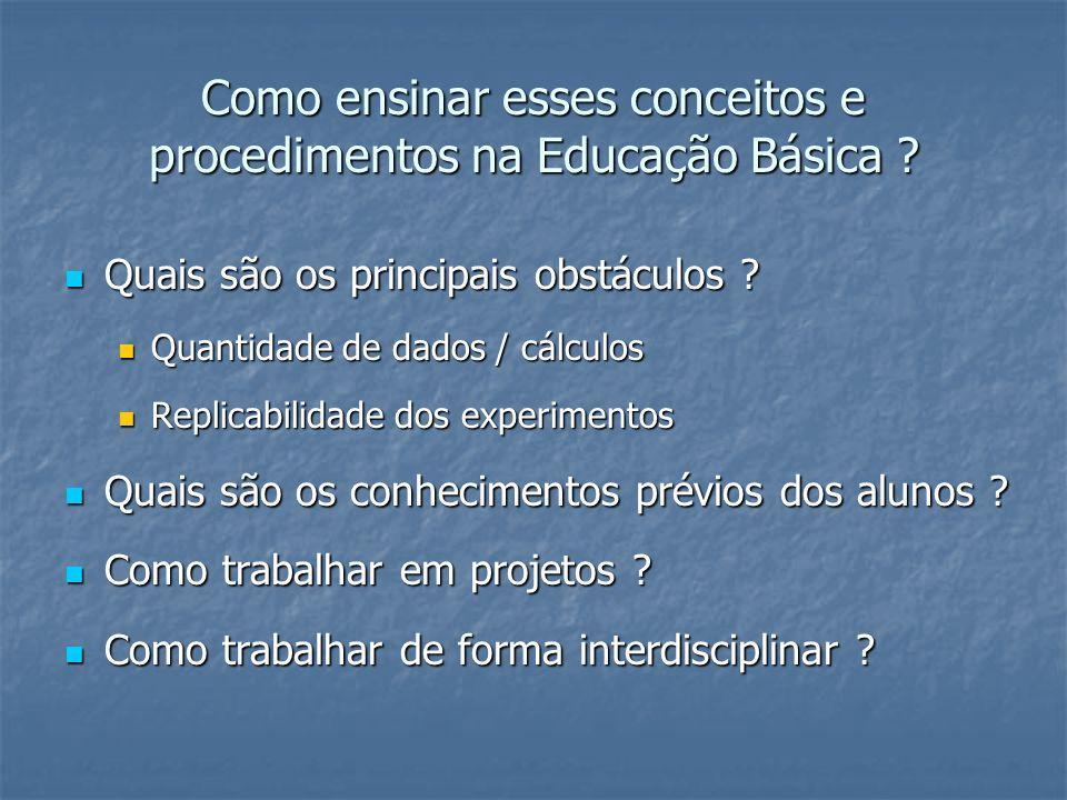 Como ensinar esses conceitos e procedimentos na Educação Básica ? Quais são os principais obstáculos ? Quais são os principais obstáculos ? Quantidade