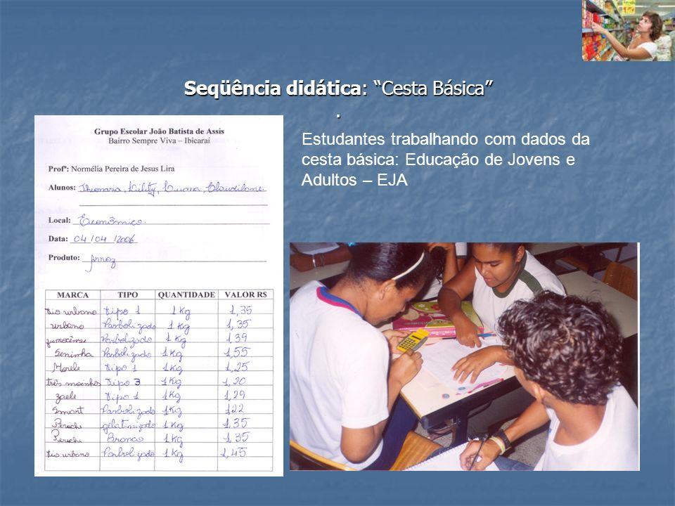 Seqüência didática: Cesta Básica. Estudantes trabalhando com dados da cesta básica: Educação de Jovens e Adultos – EJA