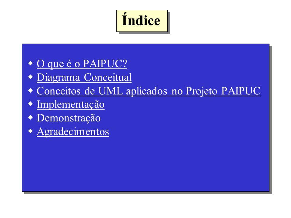 Índice O que é o PAIPUC? Diagrama Conceitual Conceitos de UML aplicados no Projeto PAIPUC Implementação Demonstração AgradecimentosO que é o PAIPUC?Di