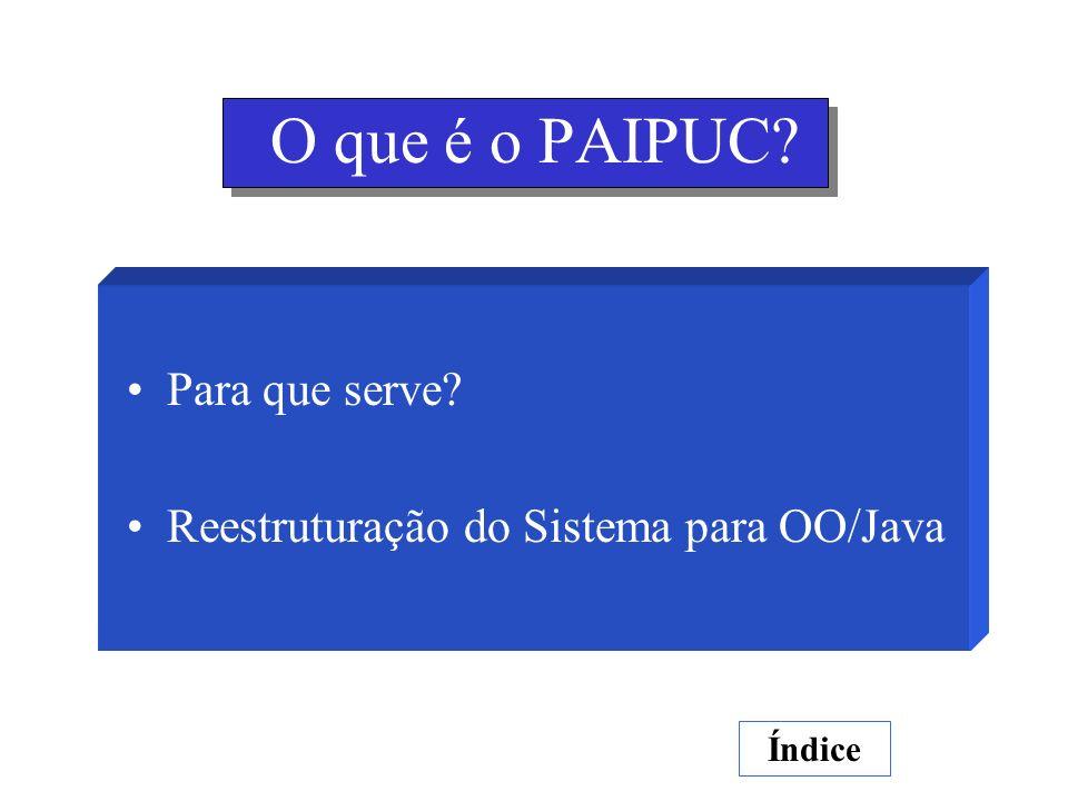 O que é o PAIPUC? Para que serve? Reestruturação do Sistema para OO/Java Índice