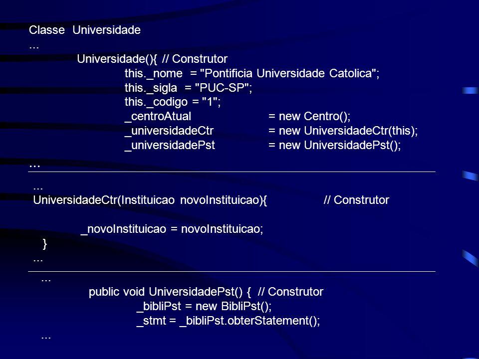 Classe Universidade... Universidade(){ // Construtor this._nome =