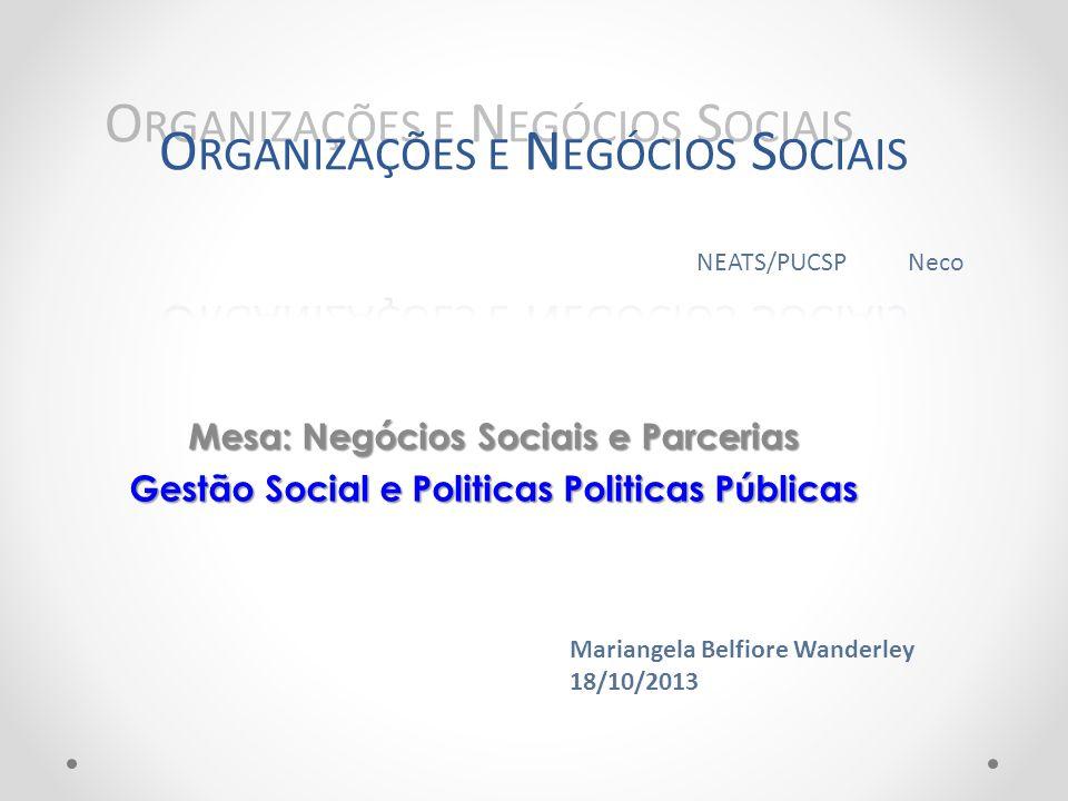 Mesa: Negócios Sociais e Parcerias Gestão Social e Politicas Politicas Públicas Mariangela Belfiore Wanderley 18/10/2013 NEATS/PUCSP Neco