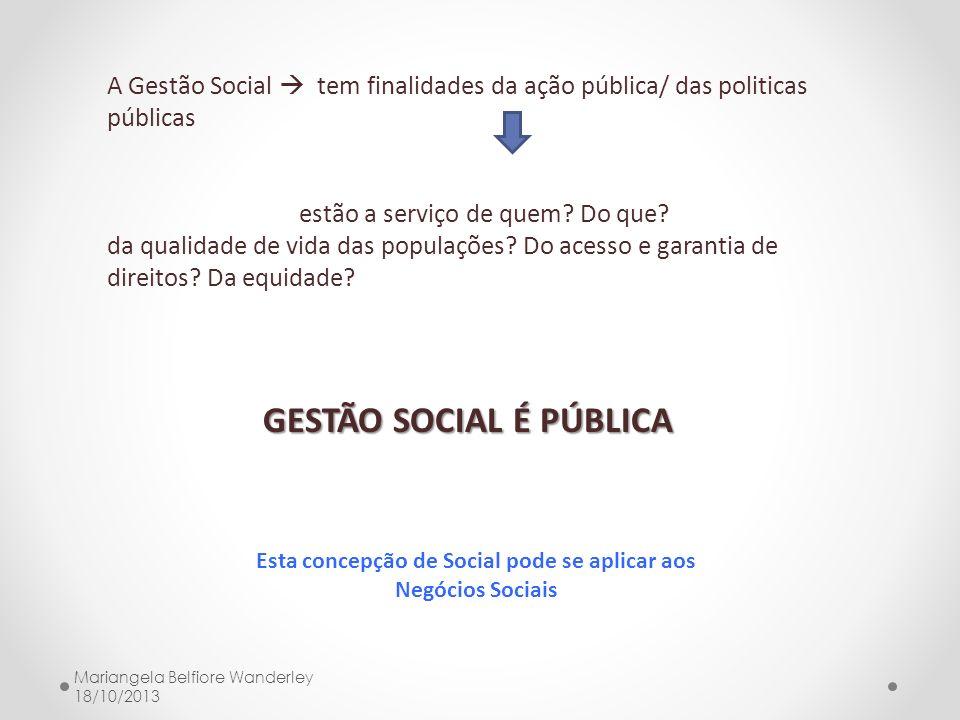 A Gestão Social tem finalidades da ação pública/ das politicas públicas estão a serviço de quem? Do que? da qualidade de vida das populações? Do acess