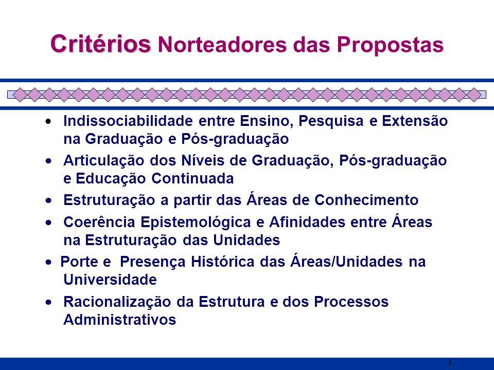 3 Critérios Critérios Norteadores das Propostas Indissociabilidade entre Ensino, Pesquisa e Extensão na Graduação e Pós-graduação Articulação dos Níve