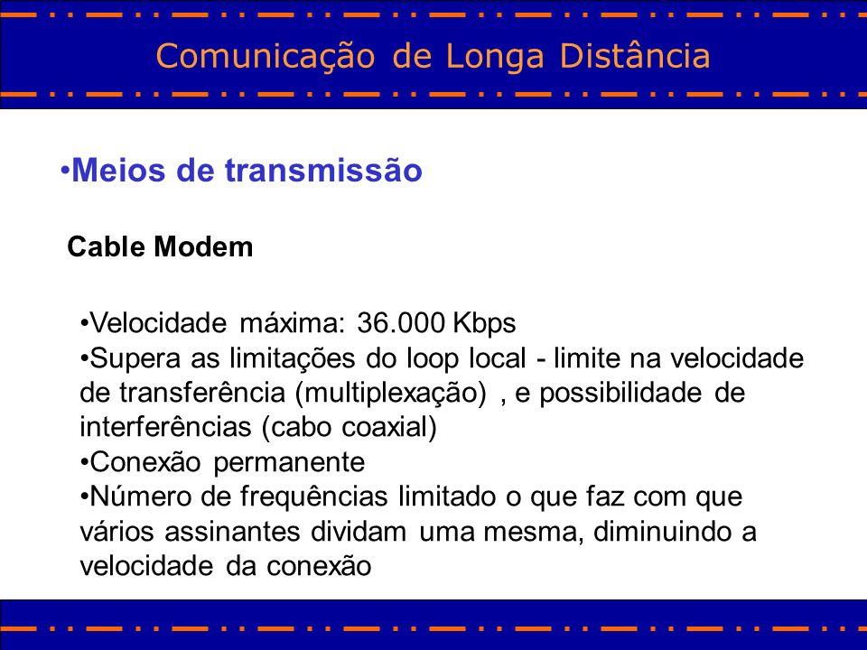 Comunicação de Longa Distância Meios de transmissão Cable Modem Velocidade máxima: 36.000 Kbps Supera as limitações do loop local - limite na velocida