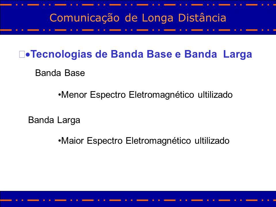 Comunicação de Longa Distância Tecnologias de Banda Base e Banda Larga Banda Base Menor Espectro Eletromagnético ultilizado Banda Larga Maior Espectro