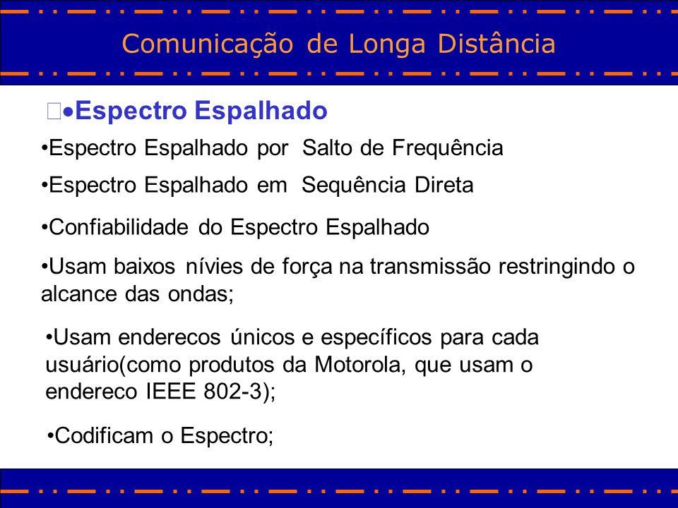 Comunicação de Longa Distância Espectro Espalhado Espectro Espalhado por Salto de Frequência Espectro Espalhado em Sequência Direta Confiabilidade do
