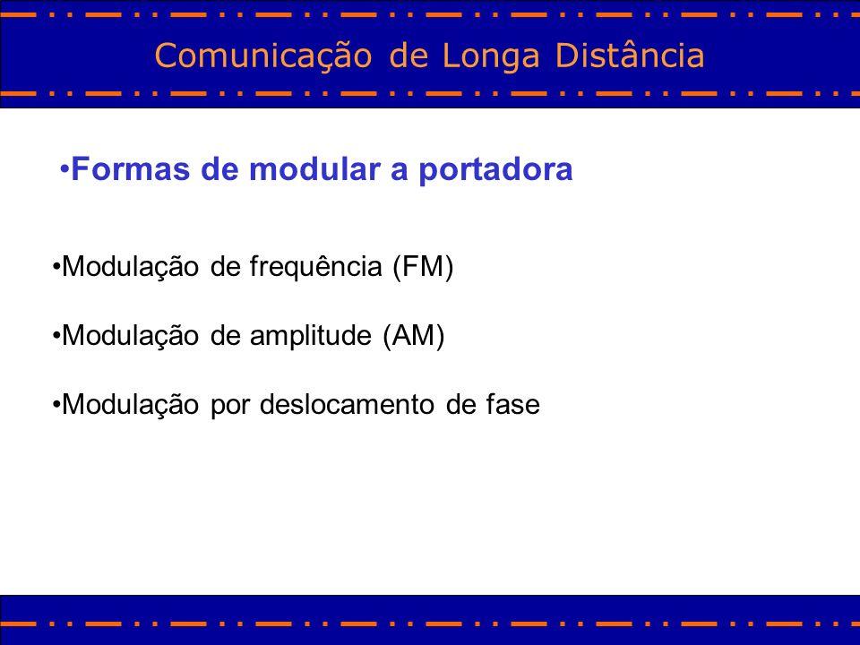 Comunicação de Longa Distância Formas de modular a portadora Modulação de frequência (FM) Modulação de amplitude (AM) Modulação por deslocamento de fa