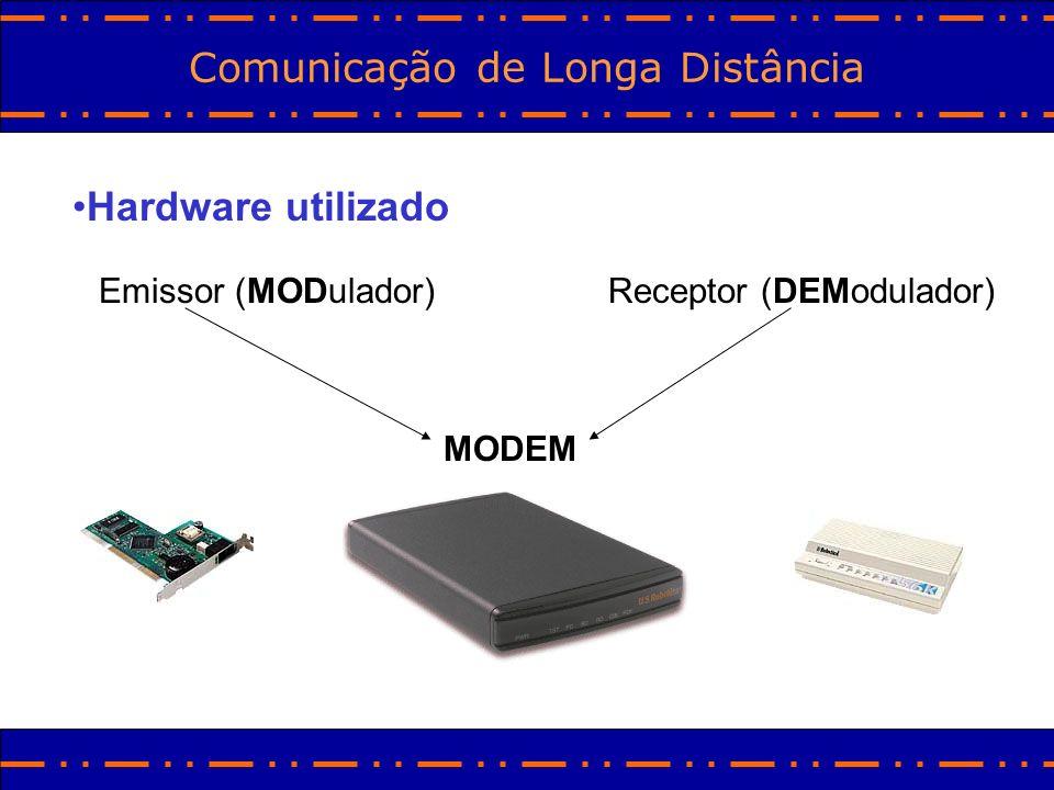 Comunicação de Longa Distância Hardware utilizado Emissor (MODulador)Receptor (DEModulador) MODEM