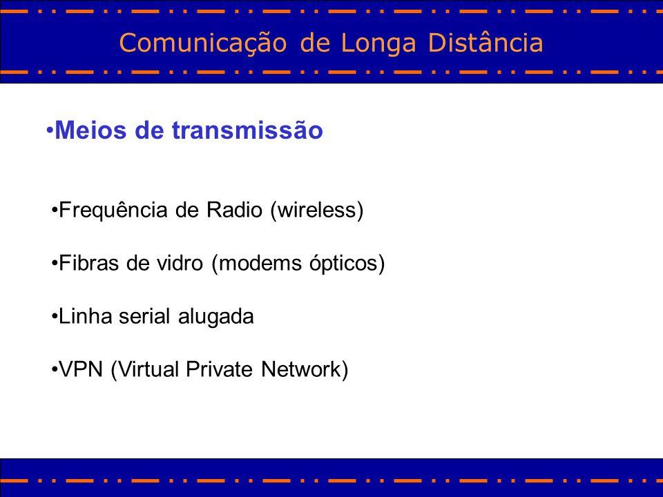 Comunicação de Longa Distância Meios de transmissão Frequência de Radio (wireless) Fibras de vidro (modems ópticos) Linha serial alugada VPN (Virtual