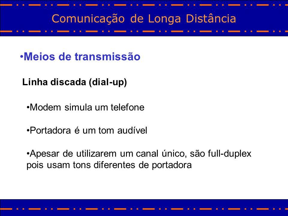Comunicação de Longa Distância Meios de transmissão Linha discada (dial-up) Modem simula um telefone Portadora é um tom audível Apesar de utilizarem u