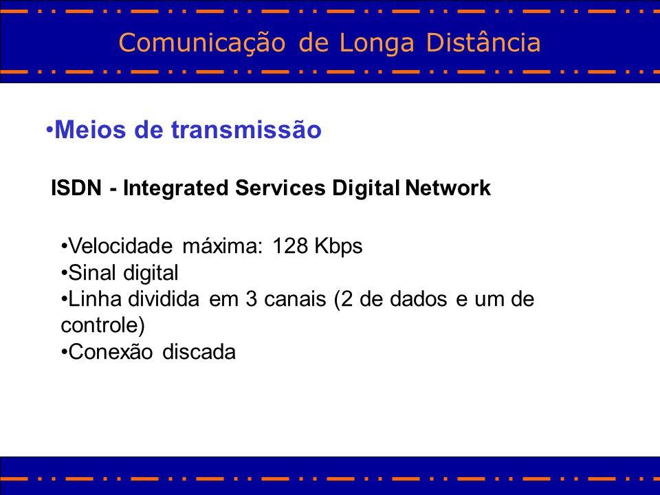 Comunicação de Longa Distância Meios de transmissão ISDN - Integrated Services Digital Network Velocidade máxima: 128 Kbps Sinal digital Linha dividid