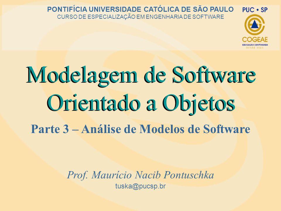 Modelagem de Software Orientado a Objetos Parte 3 – Análise de Modelos de Software tuska@pucsp.br PONTIFÍCIA UNIVERSIDADE CATÓLICA DE SÃO PAULO CURSO DE ESPECIALIZAÇÃO EM ENGENHARIA DE SOFTWARE Modelagem de Software Orientado a Objetos Prof.