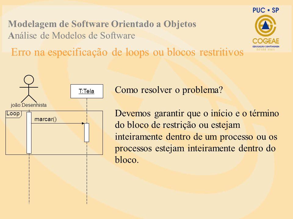 Erro na especificação de loops ou blocos restritivos Modelagem de Software Orientado a Objetos Análise de Modelos de Software joão:Desenhista T:Tela Como resolver o problema.