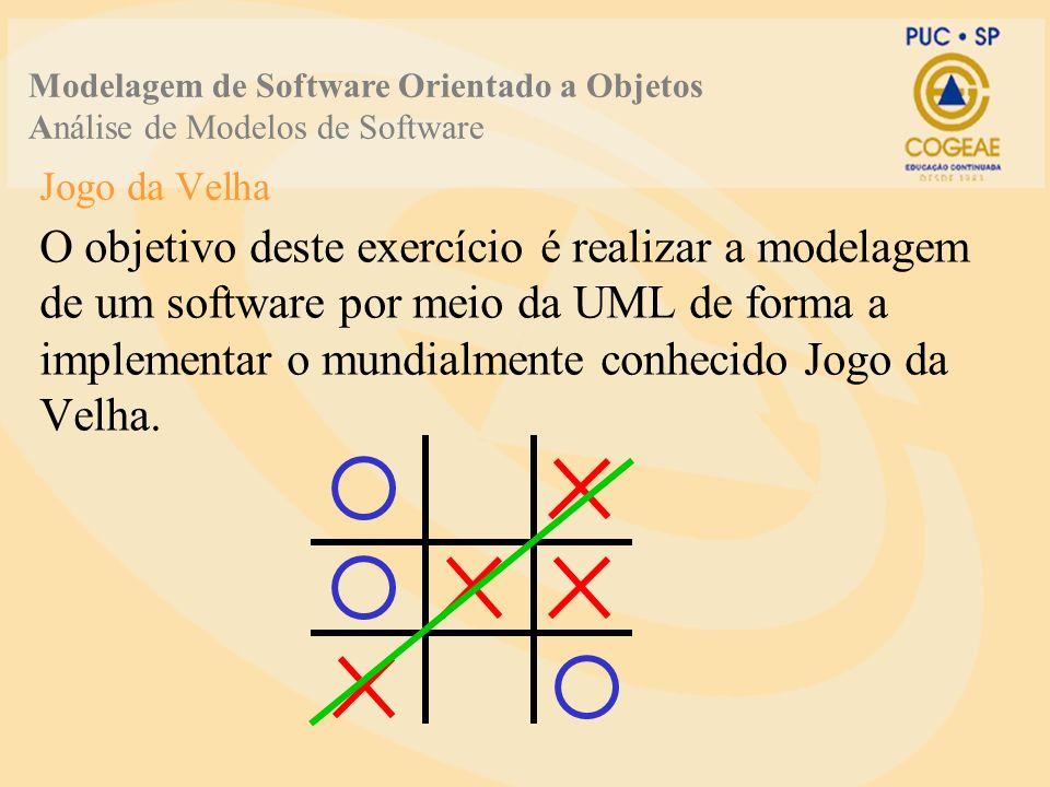 Jogo da Velha O objetivo deste exercício é realizar a modelagem de um software por meio da UML de forma a implementar o mundialmente conhecido Jogo da Velha.