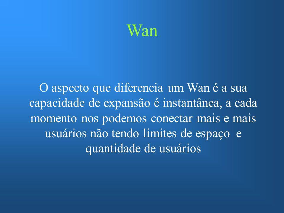 Wan O aspecto que diferencia um Wan é a sua capacidade de expansão é instantânea, a cada momento nos podemos conectar mais e mais usuários não tendo l
