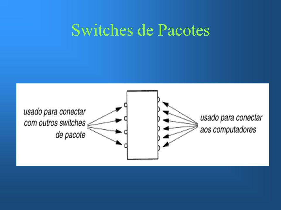 Construindo uma Wan Para construir uma Wan e necessário interconectar switches de pacotes Normalmente estes switches tem múltiplos conectores de e/s que viabiliza a integração de qualquer topologia.