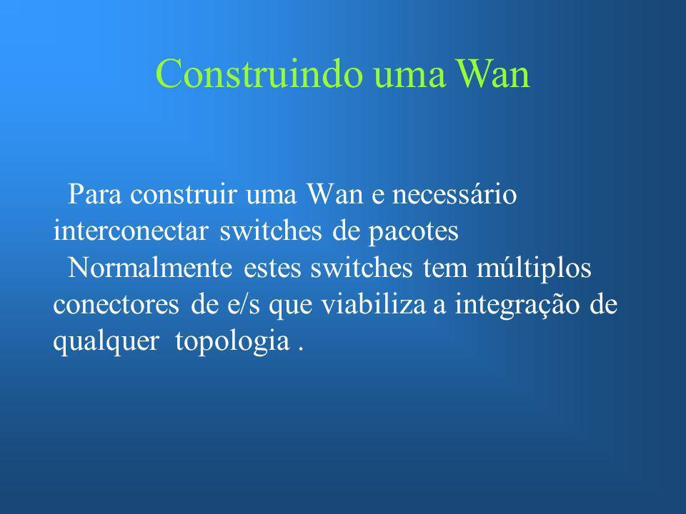 Endereçamento Físico de uma Wan O esquema mais usado em uma Wan e o de endereçamento hierárquico, esta forma de endereçamento é a mais eficiente.