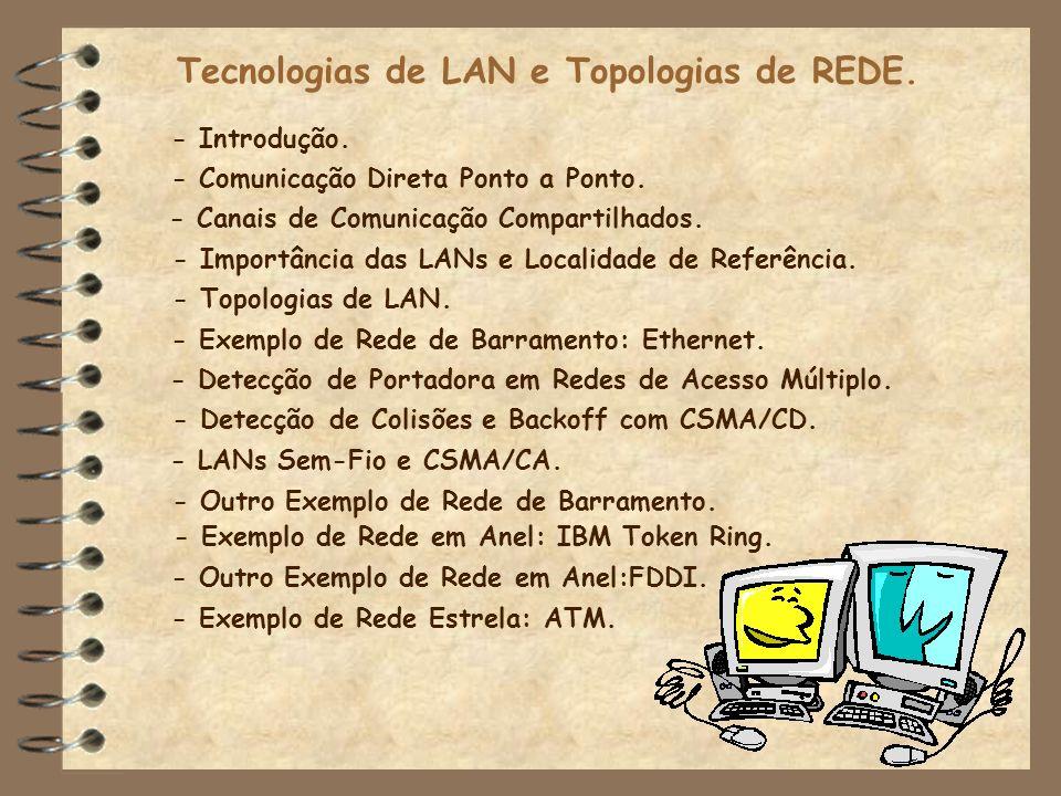 Tecnologias de LAN e Topologias de REDE. - Introdução. - Detecção de Portadora em Redes de Acesso Múltiplo. - Detecção de Colisões e Backoff com CSMA/