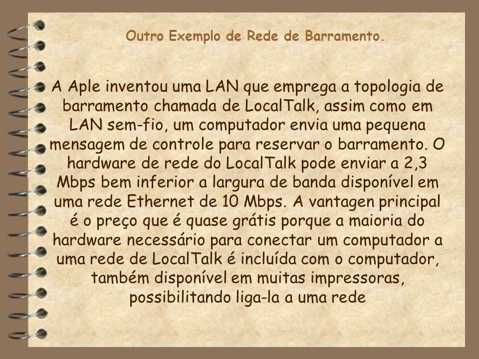 Outro Exemplo de Rede de Barramento. A Aple inventou uma LAN que emprega a topologia de barramento chamada de LocalTalk, assim como em LAN sem-fio, um
