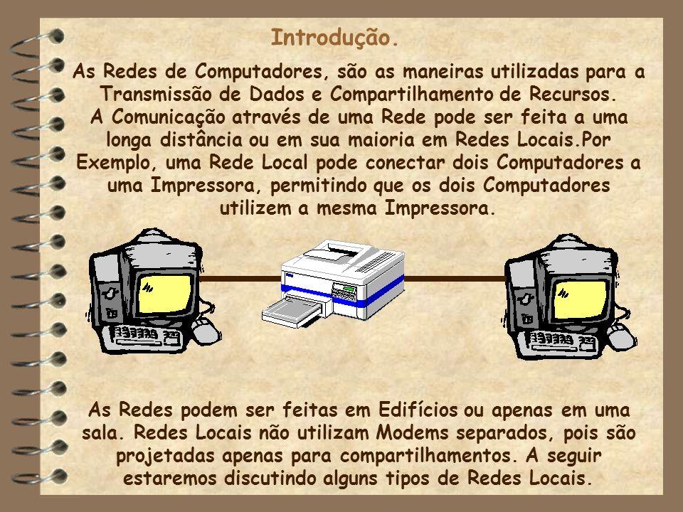 Introdução. As Redes de Computadores, são as maneiras utilizadas para a Transmissão de Dados e Compartilhamento de Recursos. A Comunicação através de