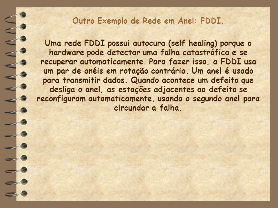 Outro Exemplo de Rede em Anel: FDDI. Uma rede FDDI possui autocura (self healing) porque o hardware pode detectar uma falha catastrófica e se recupera