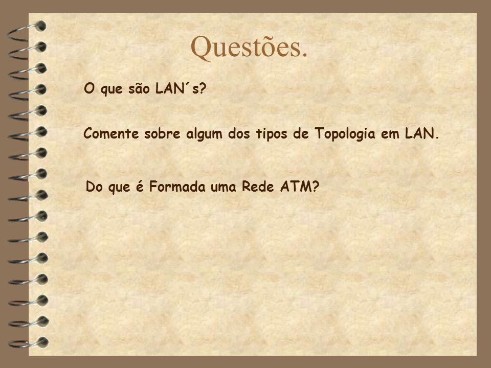 Questões. O que são LAN´s? Do que é Formada uma Rede ATM? Comente sobre algum dos tipos de Topologia em LAN.