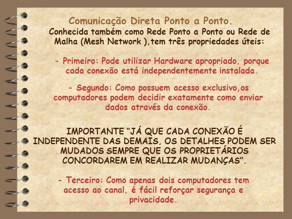 Comunicação Direta Ponto a Ponto. Conhecida também como Rede Ponto a Ponto ou Rede de Malha (Mesh Network ),tem três propriedades úteis: - Primeiro: P