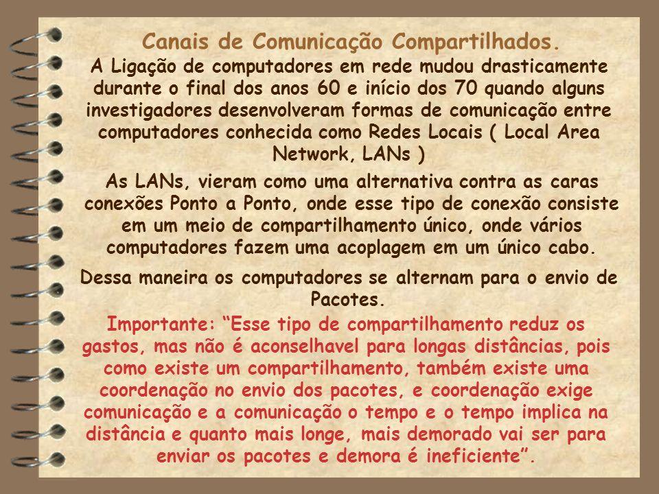 Canais de Comunicação Compartilhados. A Ligação de computadores em rede mudou drasticamente durante o final dos anos 60 e início dos 70 quando alguns