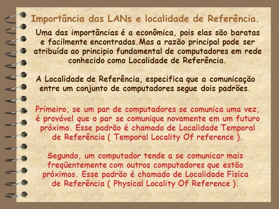 Importância das LANs e localidade de Referência. Uma das importâncias é a econômica, pois elas são baratas e facilmente encontradas.Mas a razão princi