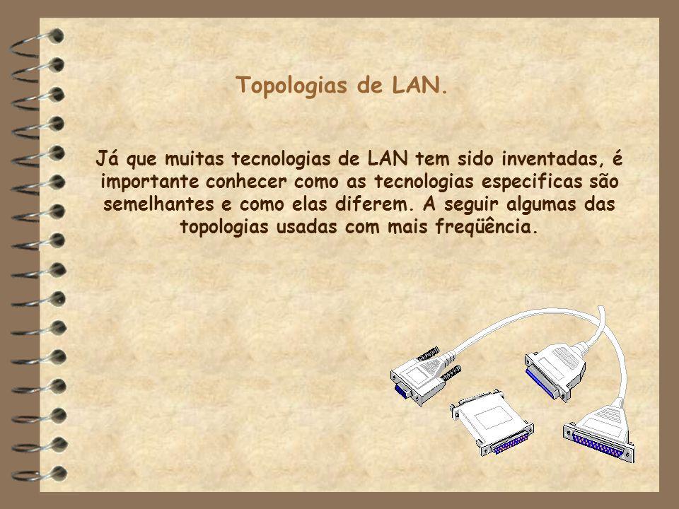 Topologias de LAN. Já que muitas tecnologias de LAN tem sido inventadas, é importante conhecer como as tecnologias especificas são semelhantes e como