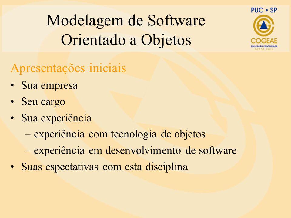 Modelagem de Software Orientado a Objetos Apresentações iniciais Sua empresa Seu cargo Sua experiência –experiência com tecnologia de objetos –experiê