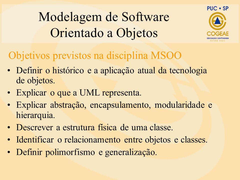 Modelagem de Software Orientado a Objetos Estrutura da disciplina Parte 1 Princípios de orientação a objetos 6 horas Parte 3 Análise de modelos de software 9 horas Parte 2 Princípios de modelagem UML 9 horas Parte 4 Estudos de Caso 6 horas Disciplina: MSOO