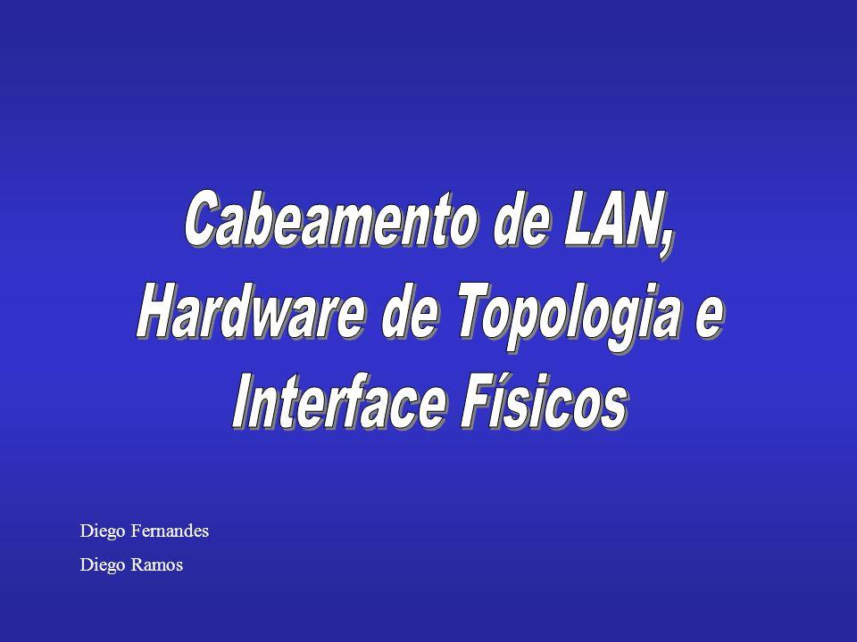 Introdução - Introdução - Velocidade de LANs e computadores - Hardware de interface de rede - A conexão entre uma NIC e uma rede - Cabeamento original espesso de Ethernet - Multiplexação de conexão - Cabeamento fino de Ethernet - Ethernet de par trançado - Vantagens de desvantagens de esquema de cabeamento - O paradoxo da topologia - Placas de interface de rede e esquemas de cabeamento