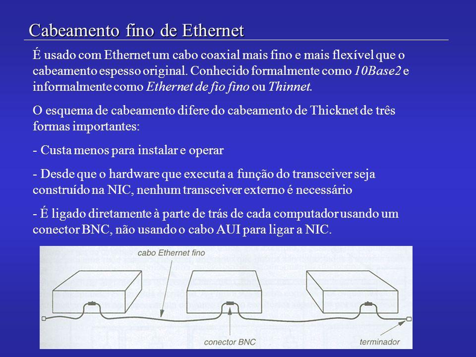 Cabeamento fino de Ethernet É usado com Ethernet um cabo coaxial mais fino e mais flexível que o cabeamento espesso original. Conhecido formalmente co