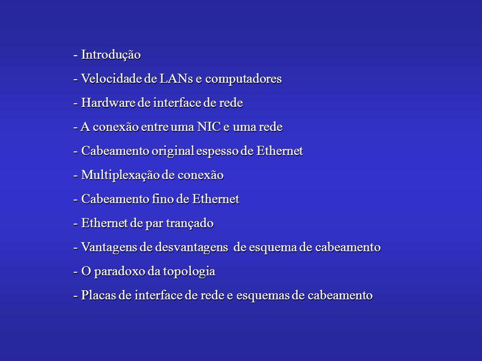Introdução - Introdução - Velocidade de LANs e computadores - Hardware de interface de rede - A conexão entre uma NIC e uma rede - Cabeamento original