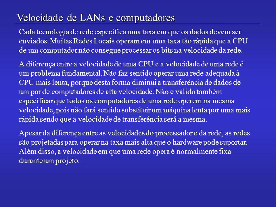 Velocidade de LANs e computadores Cada tecnologia de rede especifica uma taxa em que os dados devem ser enviados. Muitas Redes Locais operam em uma ta