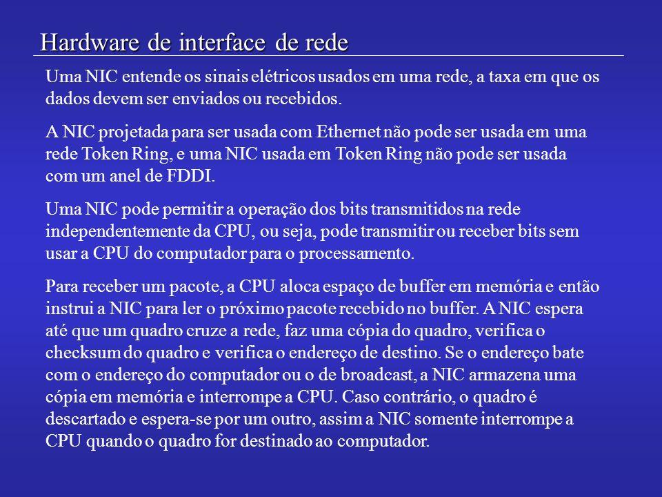 Hardware de interface de rede Uma NIC entende os sinais elétricos usados em uma rede, a taxa em que os dados devem ser enviados ou recebidos. A NIC pr