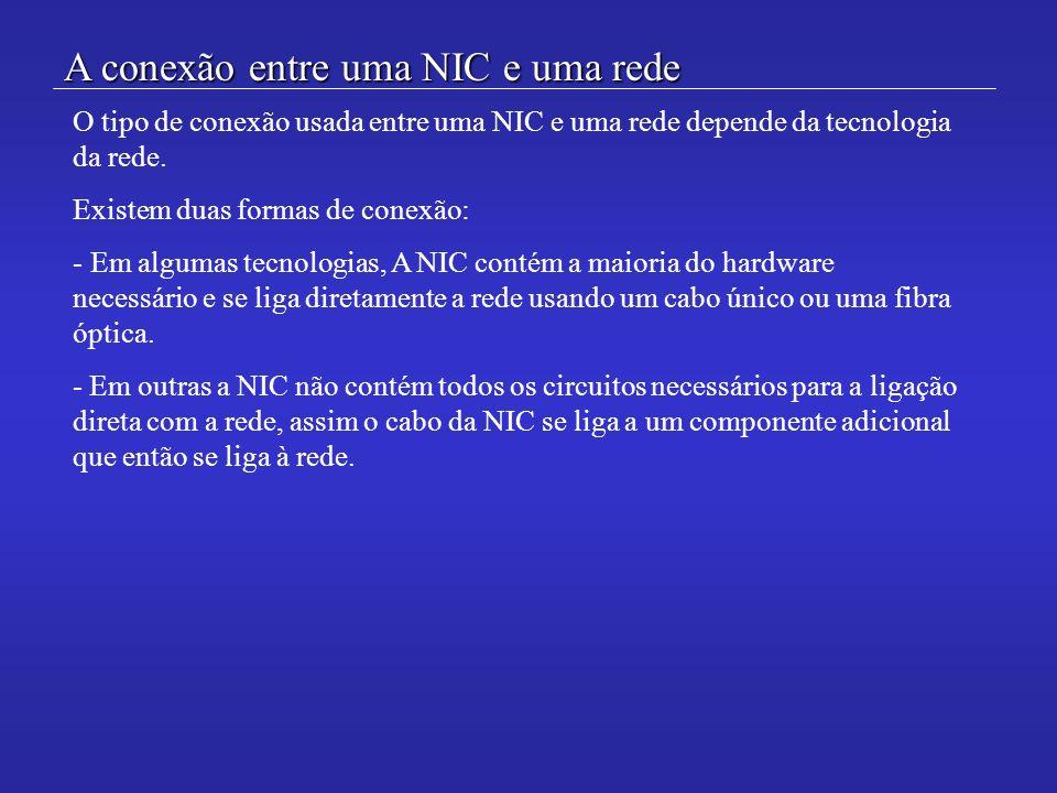 A conexão entre uma NIC e uma rede O tipo de conexão usada entre uma NIC e uma rede depende da tecnologia da rede. Existem duas formas de conexão: - E
