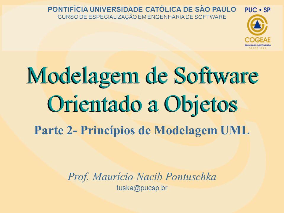 Modelagem de Software Orientado a Objetos Parte 2- Princípios de Modelagem UML tuska@pucsp.br PONTIFÍCIA UNIVERSIDADE CATÓLICA DE SÃO PAULO CURSO DE E